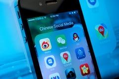 Media sociali cinesi Fotografia Stock Libera da Diritti