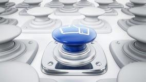 Media sociali come il bottone dell'icona isolato su fondo bianco illustrazione 3D Fotografie Stock Libere da Diritti