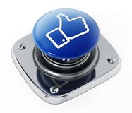 Media sociali come il bottone dell'icona isolato su fondo bianco illustrazione 3D Fotografie Stock