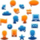 Media sociali, comunicazione nel computer globale Fotografia Stock