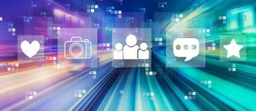 Media sociali con mosso ad alta velocit? illustrazione di stock