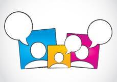Media sociali dialogo, bolle di discorso Fotografie Stock
