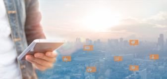 Media sociali e rete digitale illustrazione di stock
