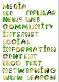 Media sociali in Internet - parole, etichette Fotografia Stock Libera da Diritti
