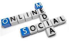 Media sociali online delle parole incrociate Fotografia Stock
