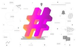 media sociali online di 3D Hashtag con l'icona sociale digitale Illustrazione di vettore illustrazione vettoriale