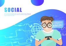 Media sociali, vettore del carattere della gente, progettazione di tecnologia digitale, presentazione del fondo, web, aletta di f illustrazione di stock