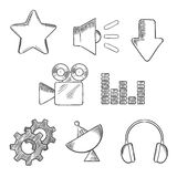 Media and sound sketched icons set Stock Images