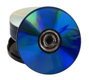 Media Storage. Blank recordable CD/DVD's leaning against spindle pack Stock Photo