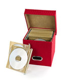 Media storage box. Storage box for compact discs isolated on white background Stock Image