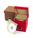 Media storage boxes. Storage boxes for compact discs isolated on white background Stock Photo