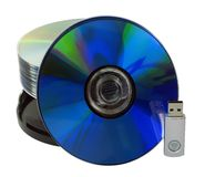 Media Storage Devices. Data storage devices against white Stock Images