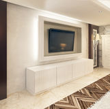 Media storage TV white frame and white drawers under it. The composition is made in art Deco style. 3D render Royalty Free Stock Photo