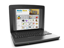 Media Technologies. Laptop and media store shopping online Royalty Free Stock Images