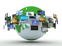 Media technologies concept: photo collage from cubes with pictur Stock Photography