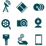 Media technologies icons set. Solid fill set in EPS 8 format Stock Images