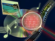Media technology. Magnifying lens reveal the true nature of different kinds of digital media on a cd rom. Digital illustration Stock Image