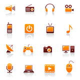 Media & telecom icons. Set of media and telecoms icons Royalty Free Stock Photography
