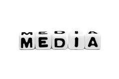 Media text. On white background using cubes and natural colors stock photos