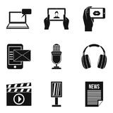 Media thing icons set, simple style. Media thing icons set. Simple set of 9 media thing vector icons for web isolated on white background Stock Photo