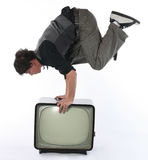 Media TV stunt concept Stock Photo