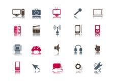 Media u. Technologie-Ikonenset | Sauber Lizenzfreies Stockbild