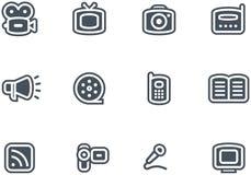 Media - Vector Geplaatste Pictogrammen Stock Afbeelding