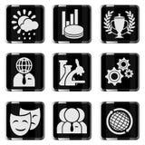 Media vector glossy icon set Stock Photo