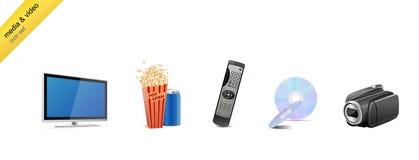Media and video icon-set Stock Photo
