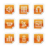 Media web icons. Vector web icons, orange glossy sticker series, V2 vector illustration
