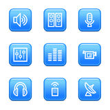 Media web icons. Vector web icons, blue glossy buttons series, V2 stock illustration