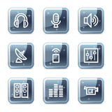 Media web icons. Vector web icons, blue glossy mineral square buttons series vector illustration