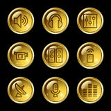 Media web icons. Vector web icons, gold glossy circle buttons series stock illustration