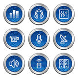 Media web icons. Web icons, blue electronics buttons series stock illustration