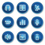 Media web icons, blue circle buttons. Vector web icons set. Easy to edit, scale and colorize stock illustration