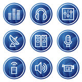 Media web icons, blue circle buttons series stock illustration