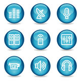 Media web icons, blue glossy sphere series. Vector web icons, blue glossy sphere series vector illustration