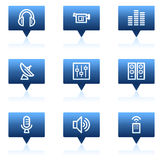 Media web icons, blue speech bubbles series Royalty Free Stock Photography