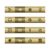 Media web icons on bronze bar Stock Photography
