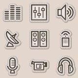 Media web icons, brown contour sticker series vector illustration