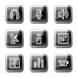 Media web icons, glossy buttons series. Vector web icons, black square glossy buttons series vector illustration