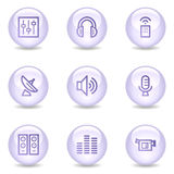 Media web icons, glossy pearl series Stock Photos