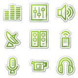 Media web icons, green contour sticker series Royalty Free Stock Photography