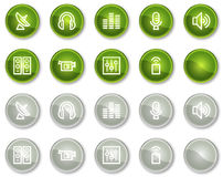 Media web icons, green and grey circle buttons. Vector web icons set. Easy to edit, scale and colorize stock illustration