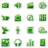 Media web icons, green sticker series Royalty Free Stock Image