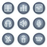 Media web icons, mineral circle buttons series Royalty Free Stock Images