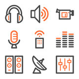 Media web icons, orange and gray contour series Stock Photo