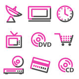 Media web icons, pink contour series Royalty Free Stock Image