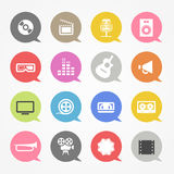 Media web icons set. In color speech clouds Stock Image