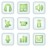 Media web icons, white square buttons series Royalty Free Stock Photos